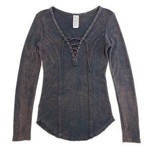 Free People Distressed Lace Up Blue Long Sleeve XS